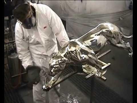 peinture chrome sur sculptures en bronze spray on chrome youtube. Black Bedroom Furniture Sets. Home Design Ideas