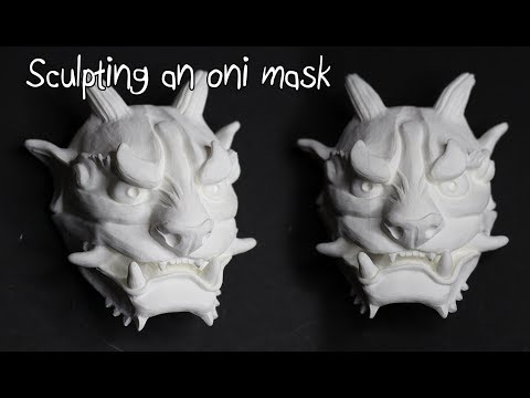 Sculpting a mini oni mask from Monsterclay!