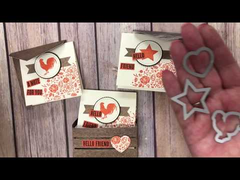 Using the Wood Words Bundle by Stampin' Up! to create a crate with notecards and envelopes