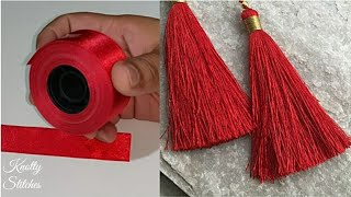 make perfect tassel using ribbon. #tasselmaking #jewellarymakimg #D...