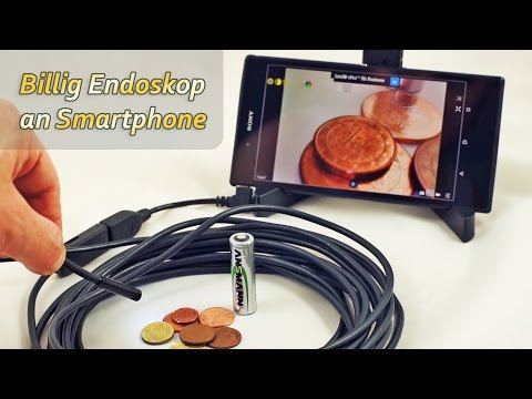 Billig USB-Endoskop mit OTG-Adapter an Android Smartphone