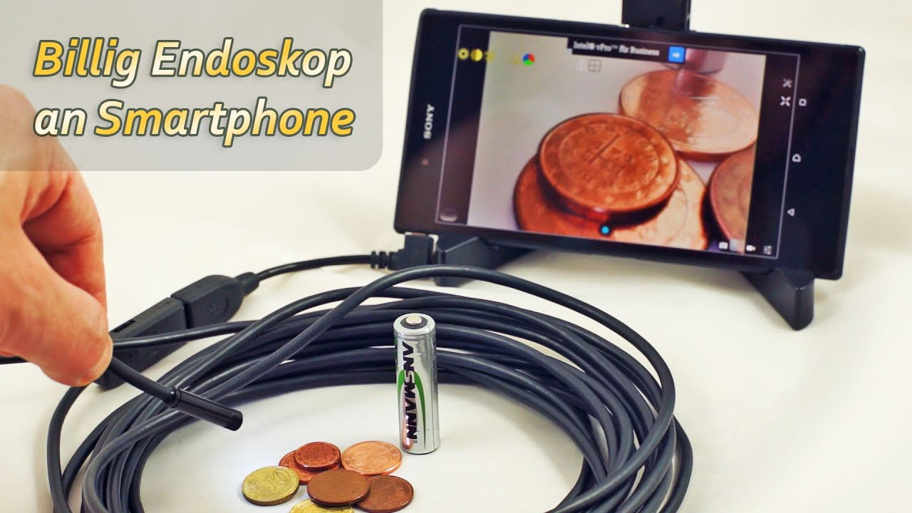 Billig usb endoskop mit otg adapter an android smartphone youtube
