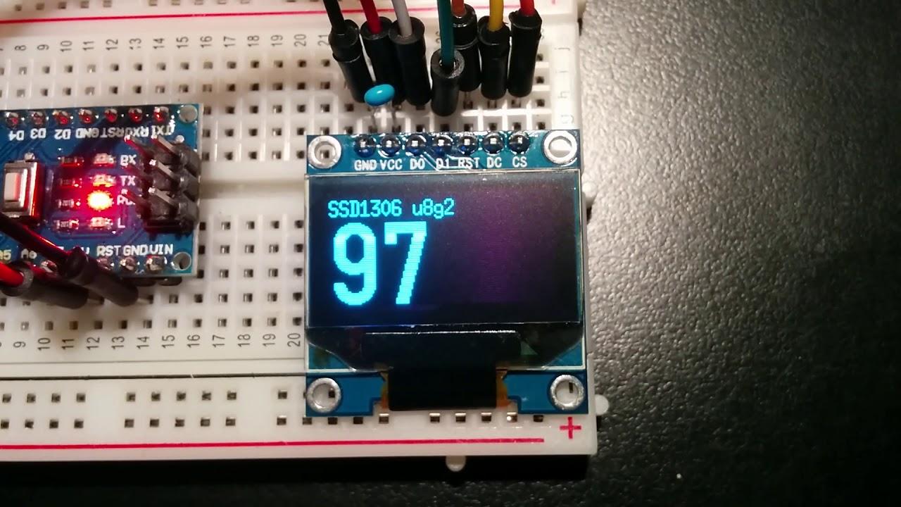 0 96` OLED display with U8g2 on 5V 16 MHz Arduino Nano