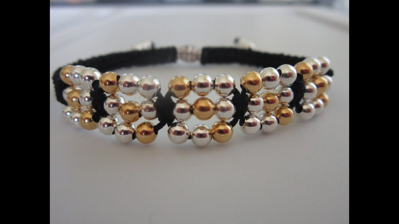 Shamballa Bracelet With Metal Beads Gold And Silver