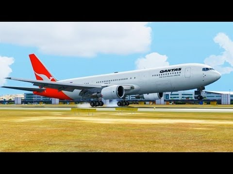 Qantas Boeing 767 Landing @ Canberra ( Outside ) ( HD )