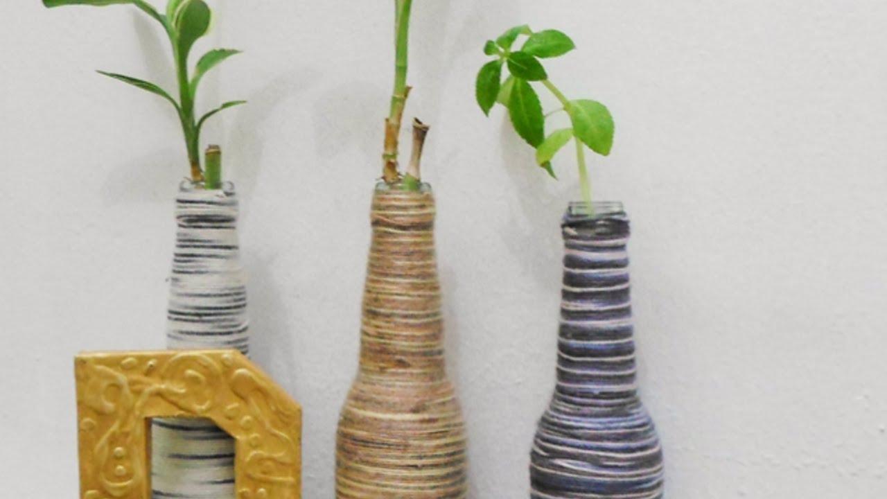 Crea dei vasi bottiglie ricoperti da gomitoli fai da te for Rimodernare casa fai da te