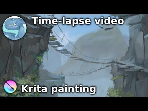 Suspension bridge. Digital painting with Krita.