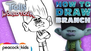 How to Draw BRANCH | TROLLS WORLD TOUR | Draw #withme