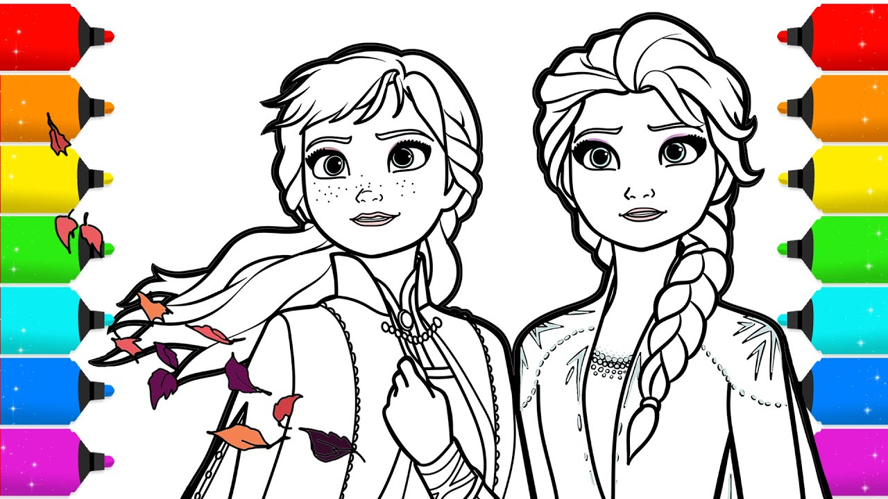 - Frozen 2 Elsa And Anna Drawing And Coloring - YouTube