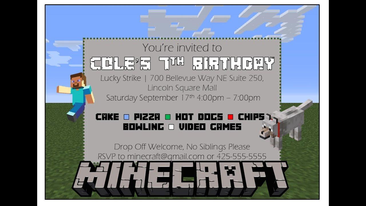 Make your own minecraft birthday invitation with ms word youtube make your own minecraft birthday invitation with ms word filmwisefo