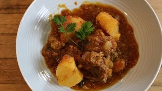 Greek Style Braised Lamb with potatoes in a Tomato Sauce (All in one pot!)