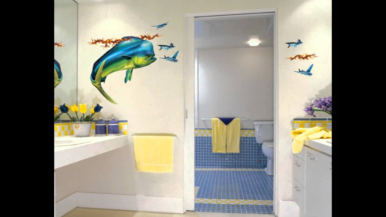 cool-bathroom-wall-decals-kids-design - YouTube