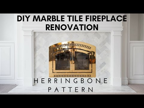 DIY Install Marble Tile Wall Fireplace Renovation - Herringbone Pattern