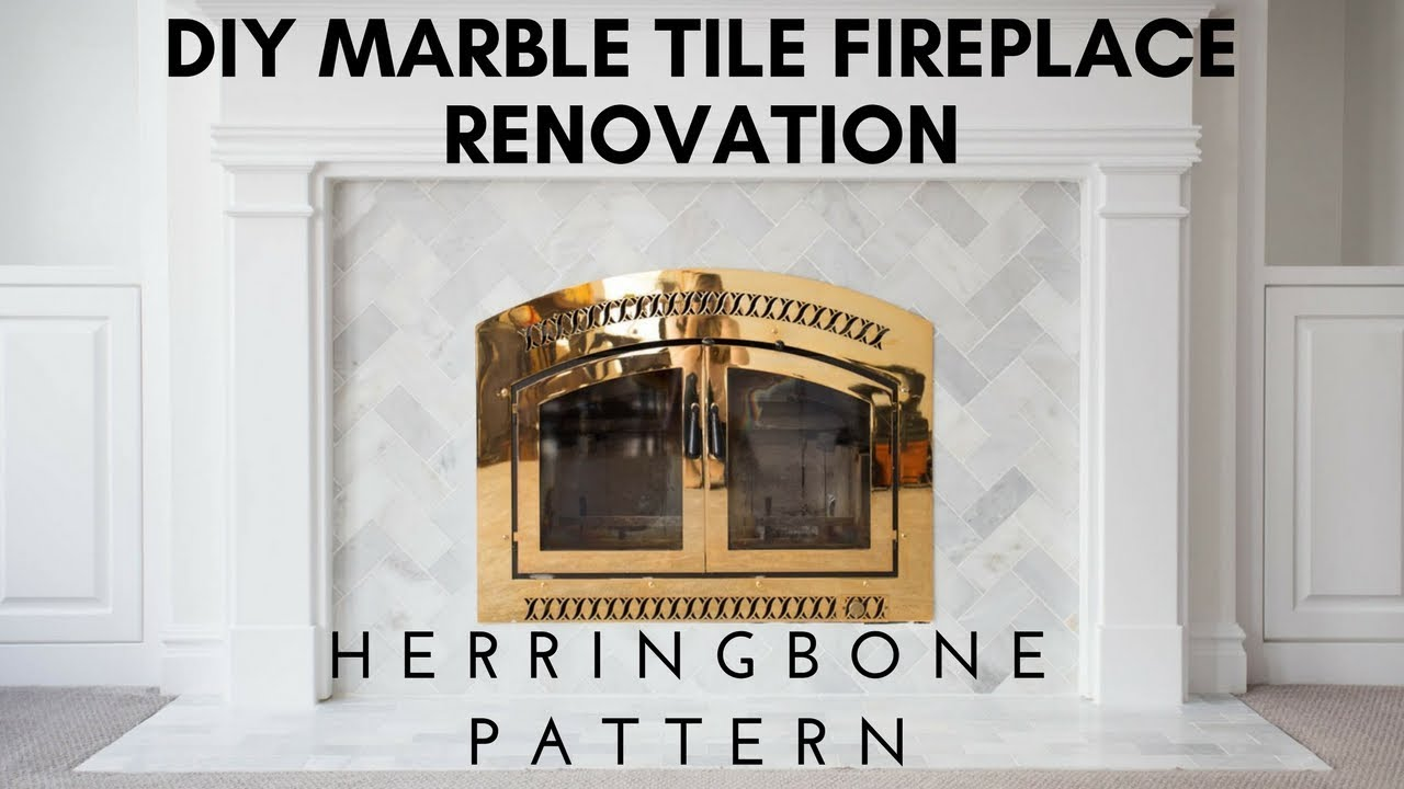 diy install marble tile wall fireplace renovation herringbone pattern