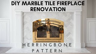 We transformed our old fireplace into something new and beautiful using lovely marble tiles, white grout, and a fresh coat of paint.