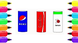 Download How to Draw and Color PEPSI, COCA COLA, 7 UP Sherbet Soda   Learning Colors For Kids MP3 song and Music Video