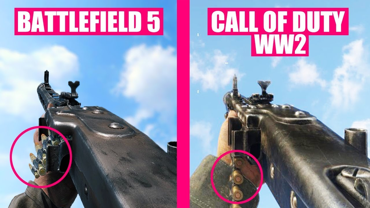 Battlefield 5 vs Call of Duty WW2 Weapons Comparison