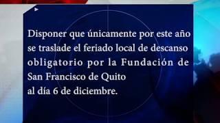 VIERNES 8 DE DICIEMBRE NO SERA FERIADO Y SERA 6 DE DICIEMBRE MEDIANTE DECRETO 228