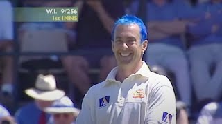 Colin Miller puts Courtney Walsh off with his blue hair