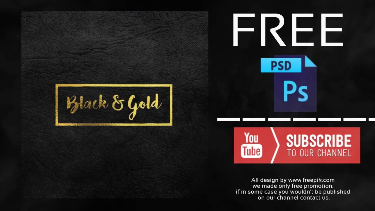 gold logo mock up on black leather free psd template youtube