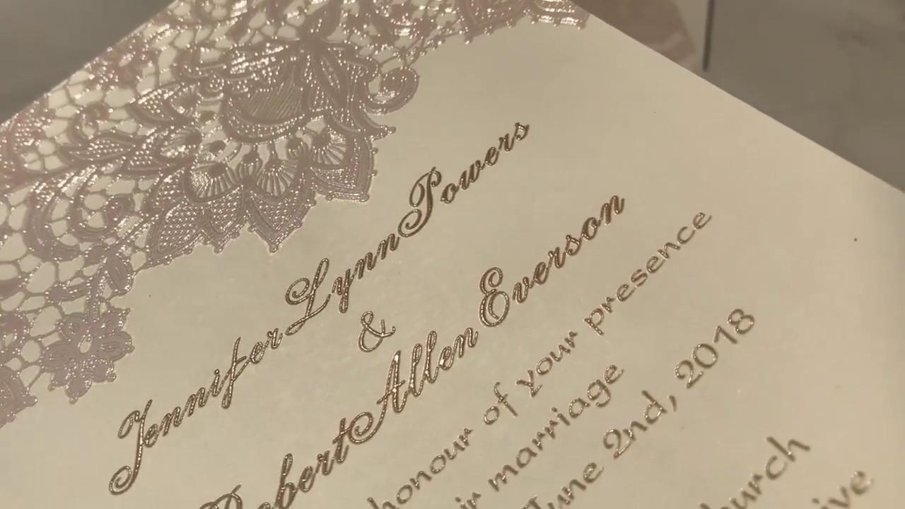 vintage blush pink lace UV printing wedding invitations EWUV012 ...