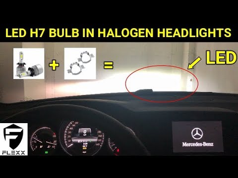 MERCEDES HOW TO: PART 1: INSTALL H7 LED BULB & RETAINER BRACKET IN HALOGEN HEADLIGHTS