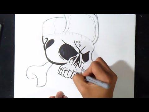 Come disegnare un teschio graffiti youtube for Immagini teschi disegnati