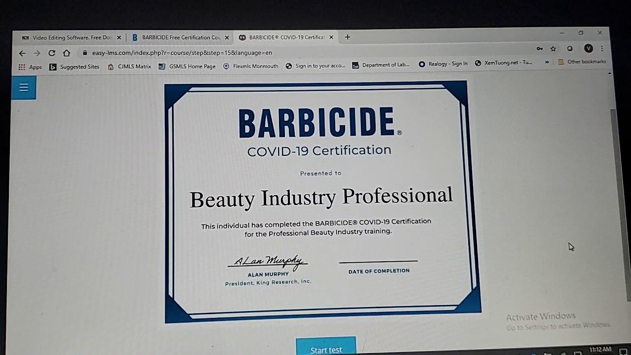 barbicide certificate covid