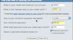 Debt Calculator Tutorial for Credit Card Debt at Bankrate.co
