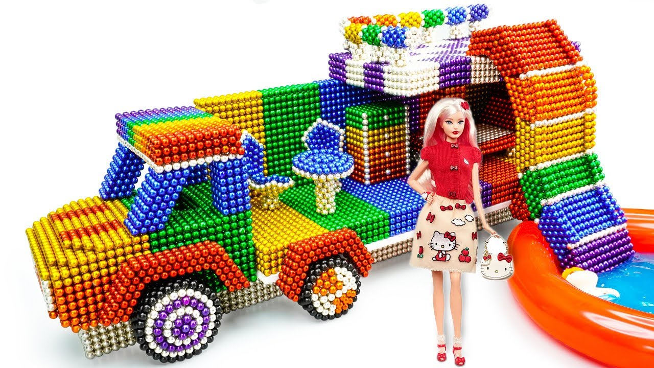 DIY - How To Build Rainbow Barbie Camping Truck From Magnetic Balls (Satisfaction) - Magnet Balls