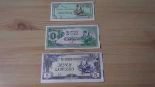 A collection of the japanese papermoney banknotes