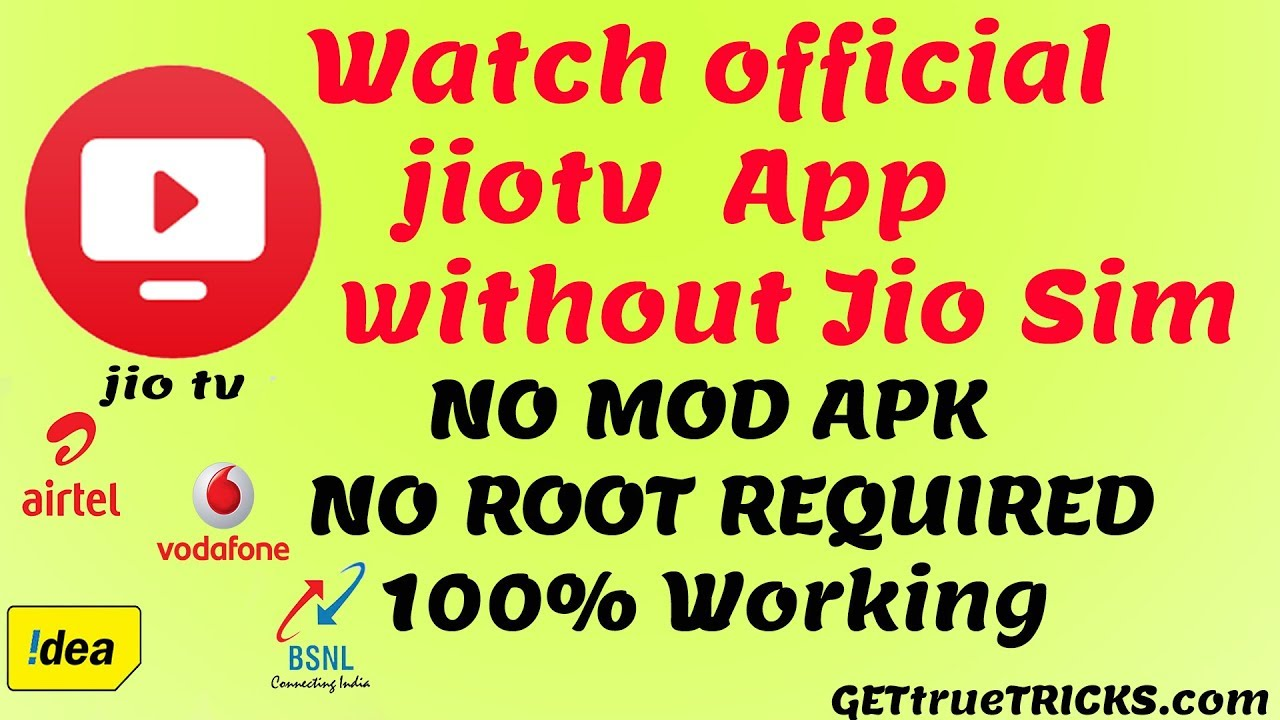 how to use official jiotv app without jio sim | no mod apk | no root  required 2019