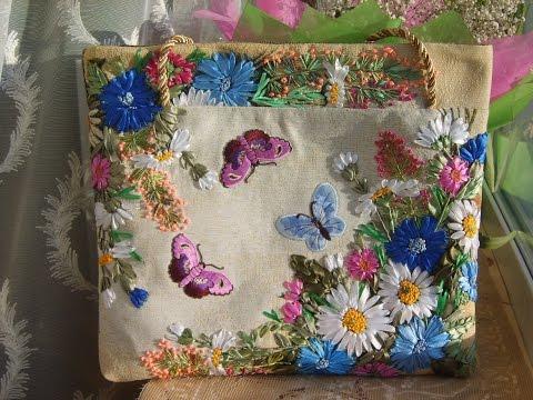 Вышивка подушки крестом и лентами ковровая отделка