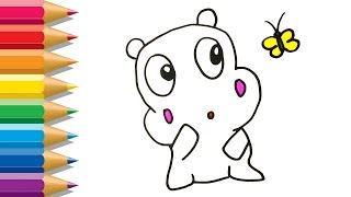 Hippo Coloring Pages | How to Draw Hippo for Kids | Drawing For Baby