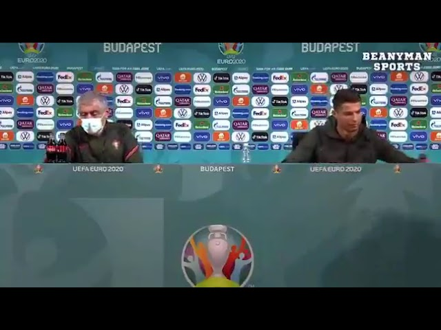 Christiano Ronaldo Replaces Coca Cola with water at press briefing