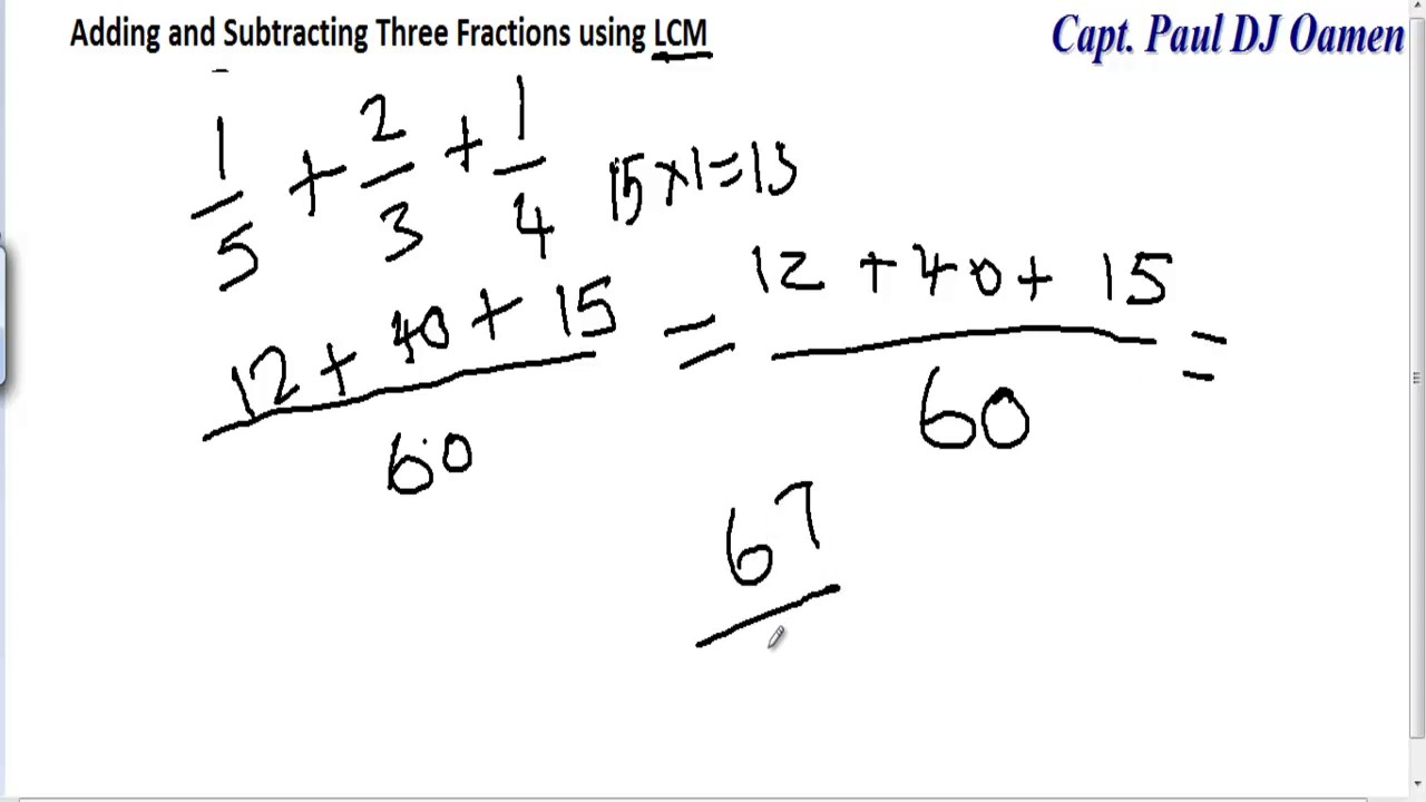 Adding And Subtracting Three Fractions Using Lcm