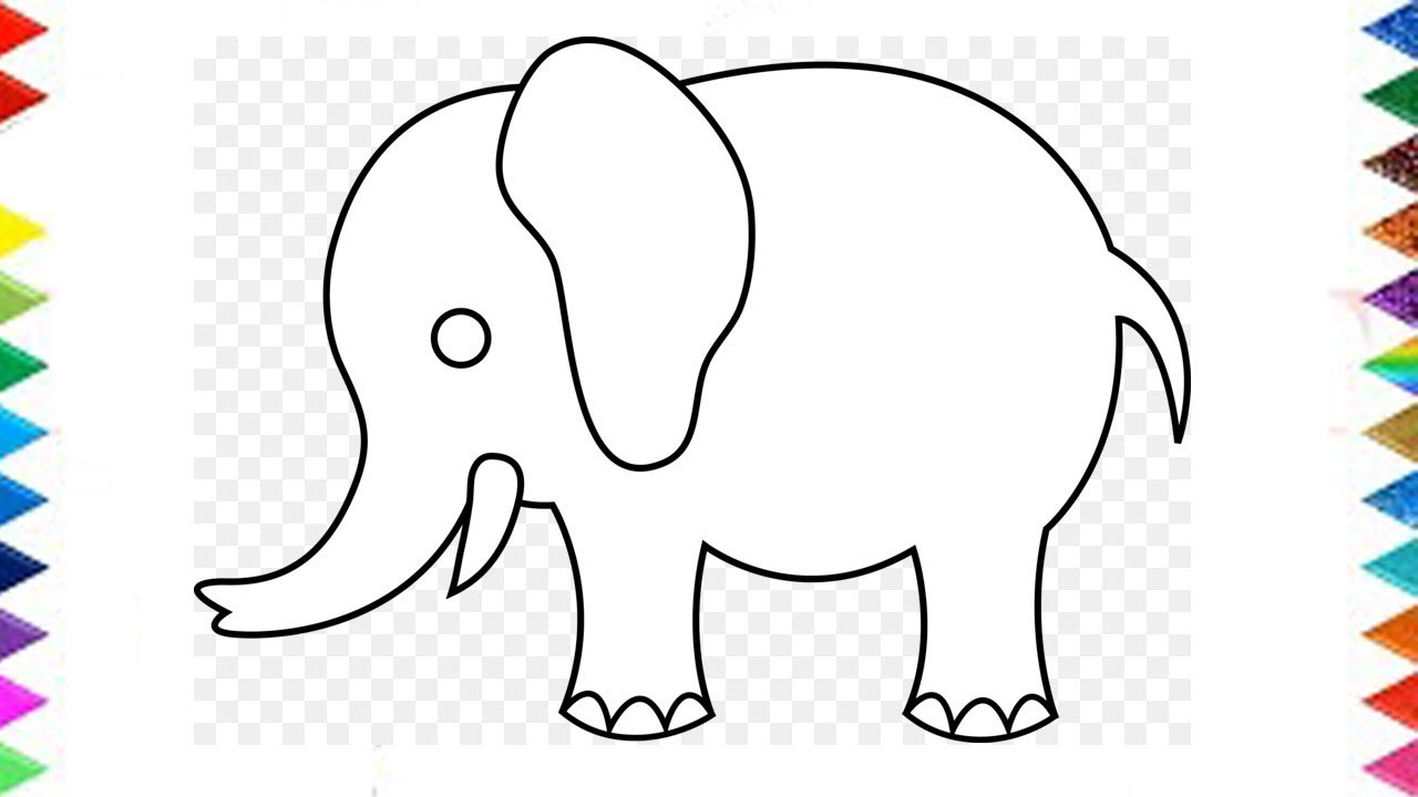 Drawing Elephant How To Draw Elephant Very Easy For Kids Step By Step Color Pag Youtube