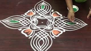 creative padi kolam design for Dhanurmasam    7x1 straight dots Margazhi muggulu