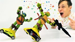 Черепашки Ниндзя учатся кататься на супер скейтбордах!