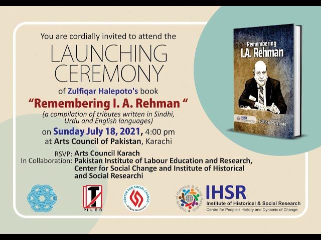 ACP Talks | Book Launch | Remembering I.A. Rehman | Zulfiqar Halepoto | #acpkhi #artscouncil