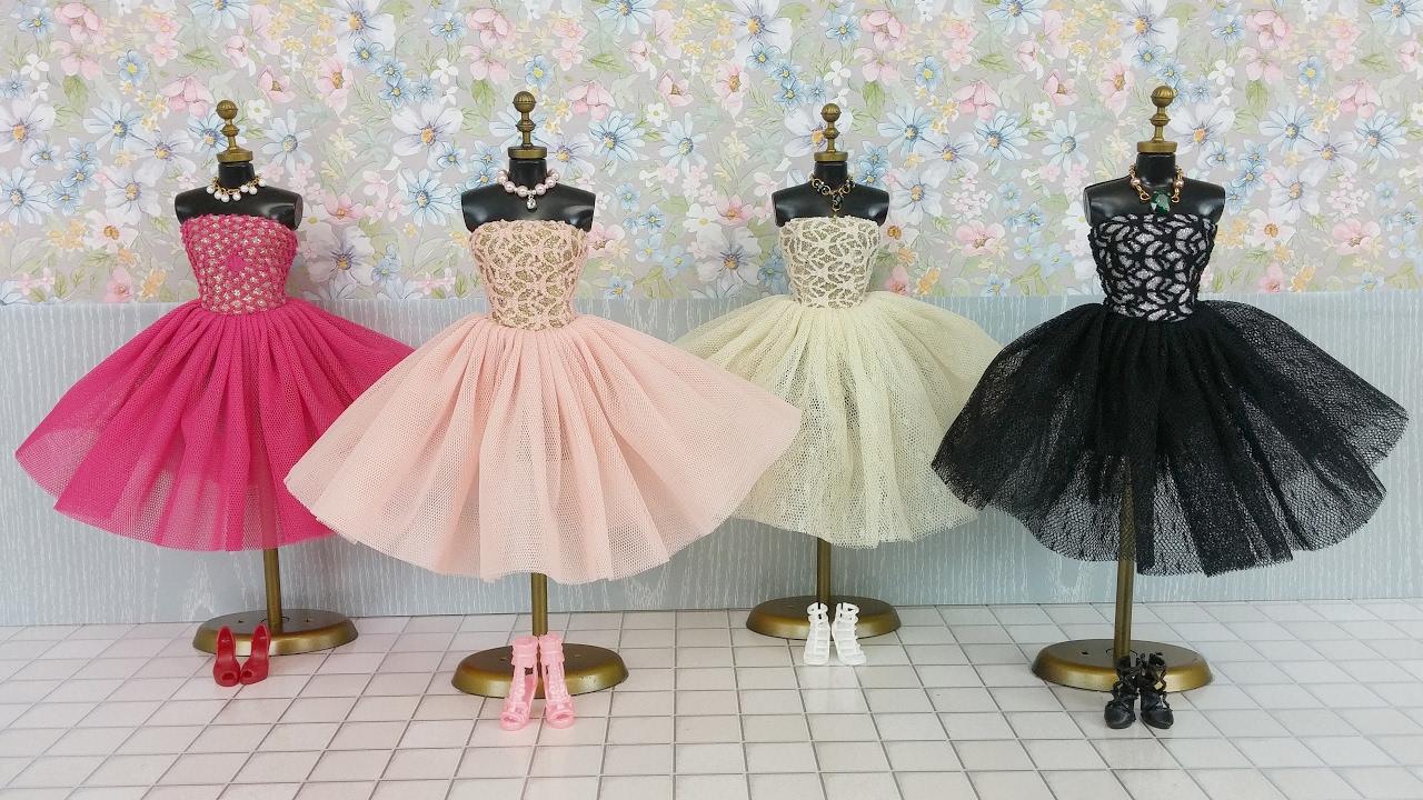 Frisk Frozen Elsa Anna Barbie Dress & Doll Dressバービードールドレス SC-45