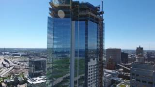 Phantom 4 footage of NML Tower construction downtown Milwaukee Sept...