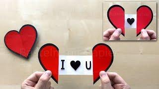 Herz basteln mit Papier zum aufklappen mit Botschaft ❤ Bastelideen Karte - DIY Geschenk