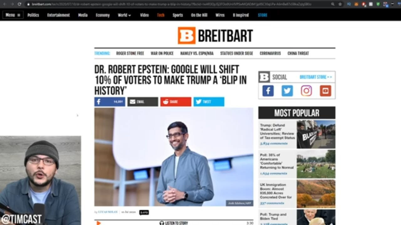 Google Will Swing 10% Of The Vote AWAY From Trump, Big Tech Cheating is REAL
