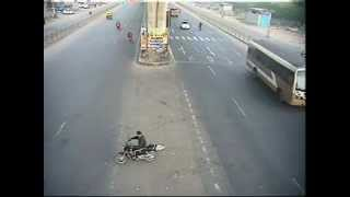 Dangerously Close Accident - Car hits Two Wheeler by Bangalore Traffic Police