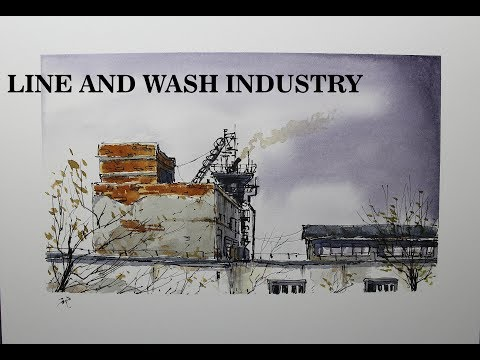 Pen and Wash small industry,drawing and painting,beginner Watercolor.Nil Rocha