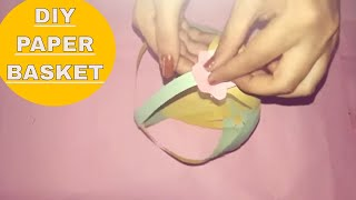 paper craft-  how to make basket with handle out of paper strips