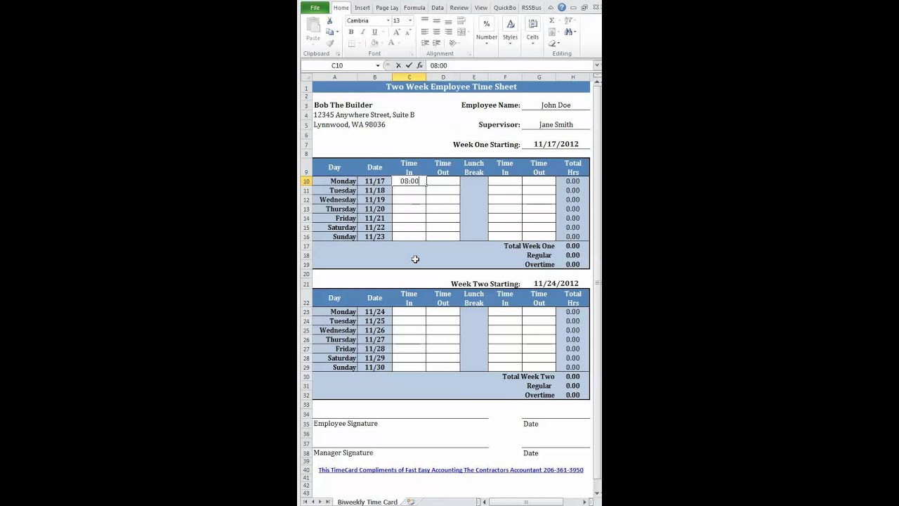 Free Simple Bi-Weekly Time Card Calculator For Contractors From