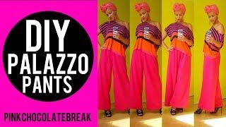 €4.99 DIY PINK PALAZZO PANTS IN 20MIN | DIY CLOTHES - NO SEWING PATTERN | PINK CHOCOLATE BREAK