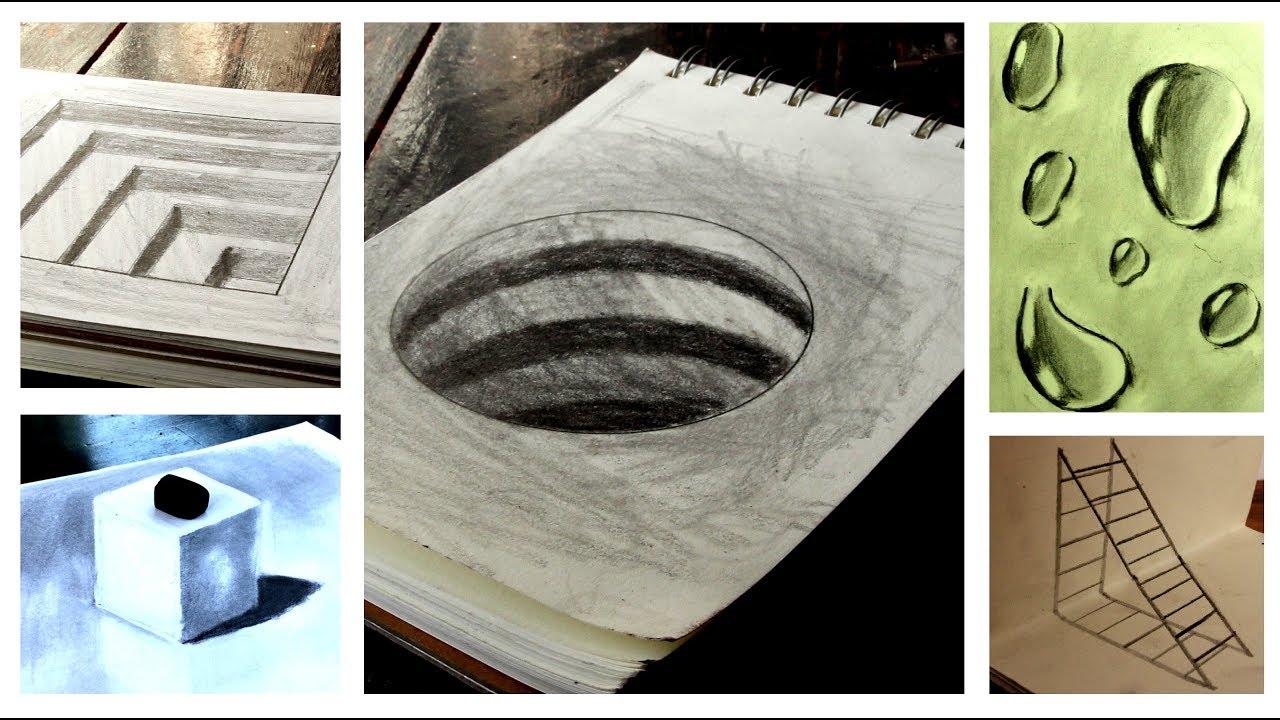 Vẽ 5 bức tranh 3d đơn giản gây ảo giác